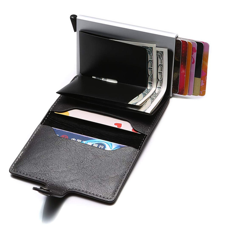 hasp men credit card holder rfid blocking pu leather
